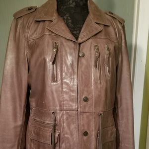 Andrew Marc olive green leather Coat sz Large